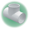 "3/4"" Tee Sch 40 White PVC Soc - Click Image to Close"