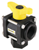 "3/4"" PP Bottom Load 3-Way Ball Valve, 1"" Thru, 100 PSI"